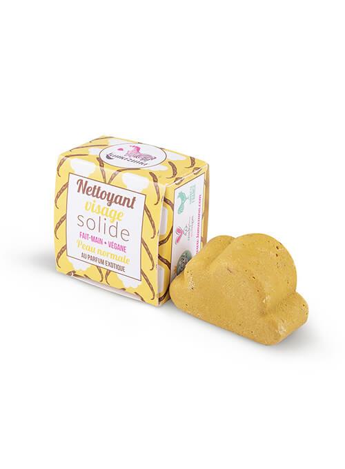 Nettoyant visage solide jaune avec boite pour peau normale. Lamazuna