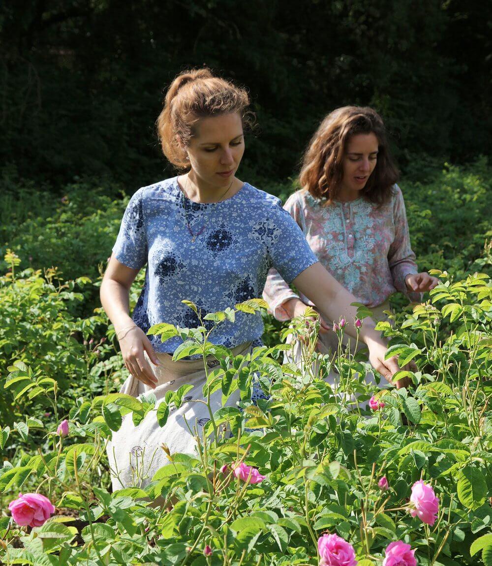 Fondatrices de la marque La Canopée cueillant des fleurs
