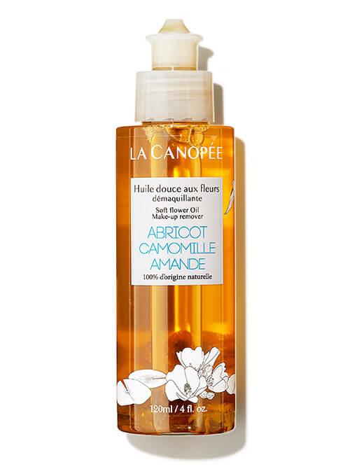 Flacon d'huile démaquillante aux fleurs douces, adapté grossesse et allaitement. La Canopée.