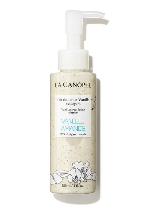 Flacon de lait démaquillant douceur à la vanille, adapté grossesse et allaitement. La canopée.