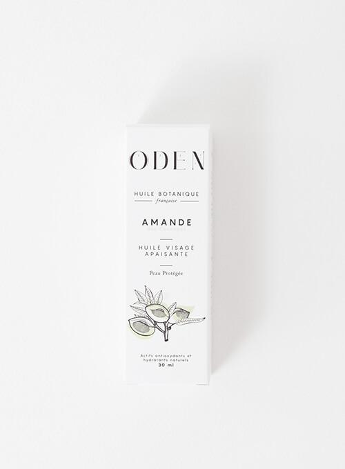Boite d'Huile botanique amande française pressée à froid. Adapté grossesse et allaitement. Oden.