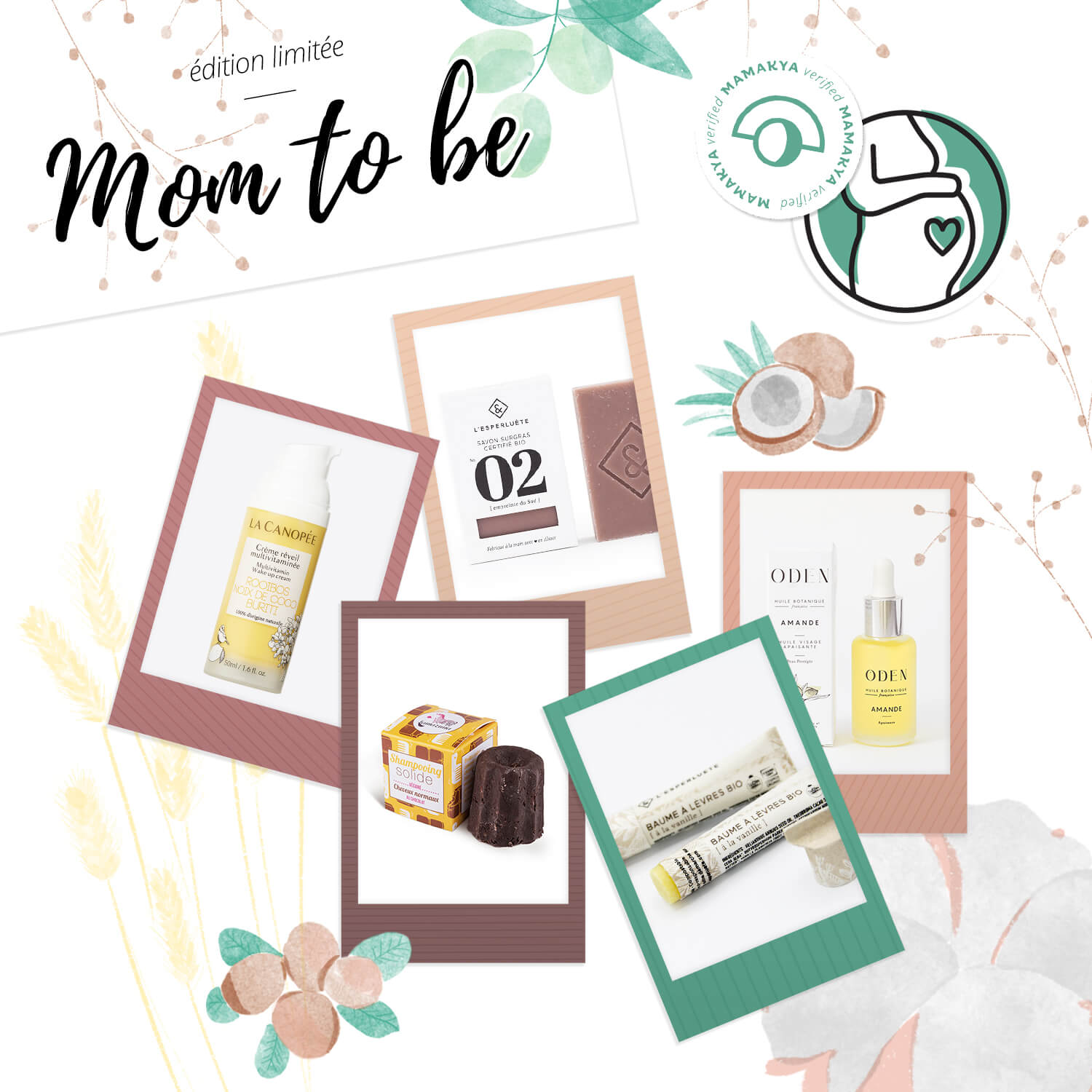 Coffret mom to be. Collage de photo des cinq produits du coffret.