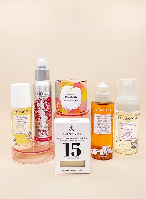 Kit ou Box pour femme enceinte, 6 cosmétiques clean et indispensables pour accompagner les 9 mois de grossesse. Formats full size.